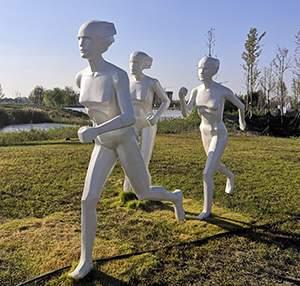 奔跑赛跑跑步公园景观玻璃钢雕塑