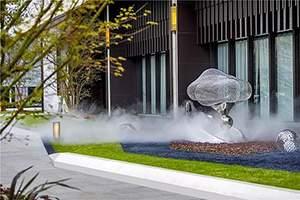 写字楼云雾缭绕丝网编织镜面雕塑
