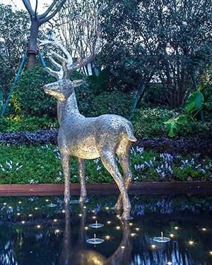 水景景观梅花鹿不锈钢雕塑造型
