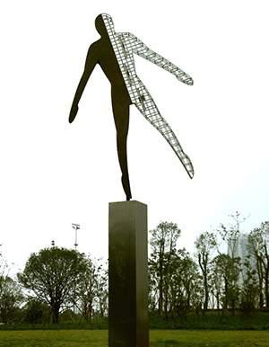我心飞翔剪影抽象金属雕塑