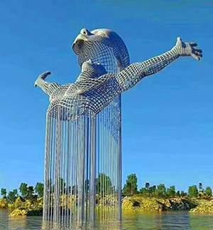 精神升华金属编织水景雕塑