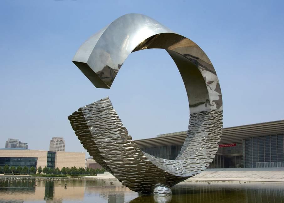碧波圆环镜面不锈钢雕塑