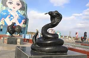 十二生肖蛇铸铜雕塑