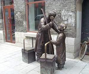 卖货郎铸铜锻造人物雕塑街景造型