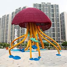 大型不锈钢卡通水母海豚雕塑