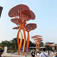 大型不锈钢云朵树造型雕塑
