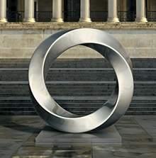 不锈钢拉丝圆环水景雕塑