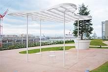 医院休息区白色钢结构景观亭