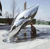 镜面不锈钢鲸鱼海豚组合雕塑