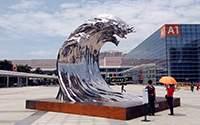 大型镜面不锈钢浪花海浪雕塑