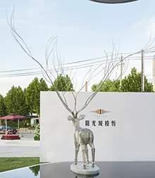 售楼处镂空不锈钢编织鹿造型雕塑