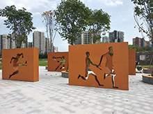 校园雕塑学校雕塑锈板景墙运动人物景墙雕塑