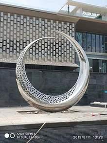 镜面不锈钢304#雕塑镂空月亮雕塑镂空月牙造型