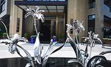 不锈钢兰花雕塑水景花朵雕塑镜面花瓣雕塑不锈钢造型