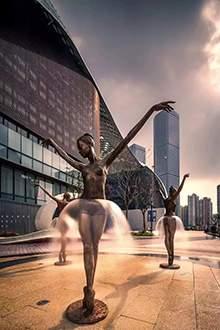 人物雕塑不锈钢仿铜跳舞人物雕塑玻璃钢仿铜舞者雕塑
