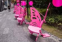 街道美陈蝴蝶造型美陈休息座椅不锈钢坐凳商业街坐凳美陈