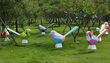 园林树脂玻璃钢几何鸟工艺雕塑房地产草坪景观切面艺术