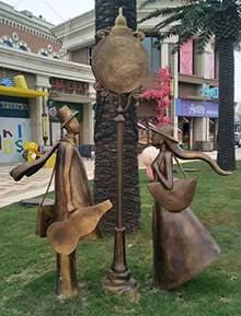 恒大地产铸铜抽象仿铜人物雕塑守候女神阳光女孩园林景观