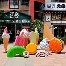 玻璃钢冰淇淋雕塑仿真雪糕筒甜甜圈汉堡摆件甜品店商业街