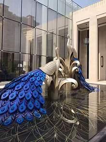 不锈钢凤凰雕塑水景雕塑地产雕塑凤凰摆件