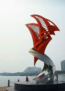 广场雕塑不锈钢雕塑沿海广场精神堡垒主题性雕塑