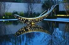 地产景观雕塑不锈钢雕塑水景雕塑镂空船雕塑抽象现代雕塑