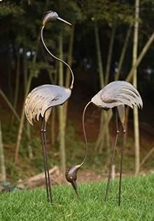 仙鹤雕塑火烈鸟雕塑铁艺仙鹤铸铜仙鹤水景摆件现代雕塑